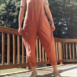 Mauve tan loose cloth baggy jumpsuit overalls